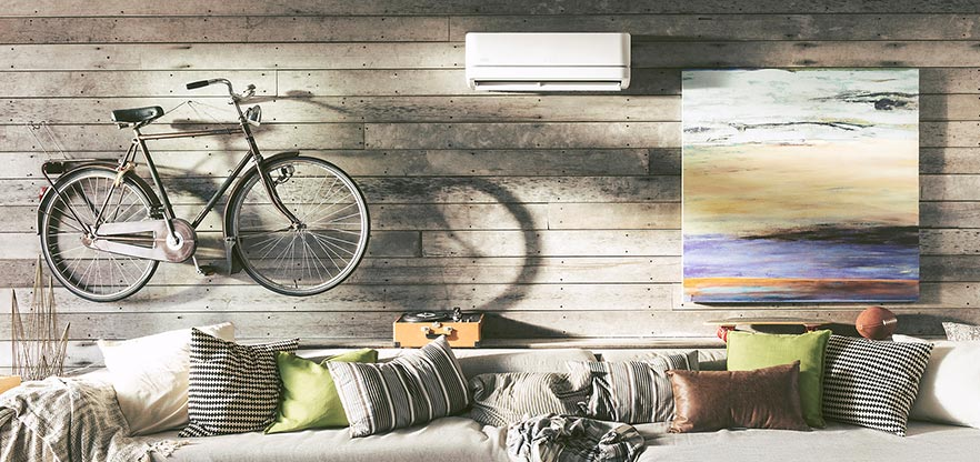 A room being cooled by a ductless air conditioning system